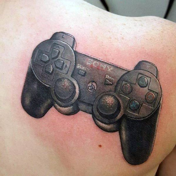 Shoulder Video Game Controller Playstation Tattoo Ideas For Males