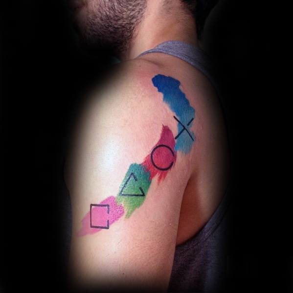 Shoulder Watercolor Guys Tattoo Ideas Playstation Designs