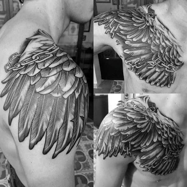 Shoulder Wings Chain Tattoos On Man