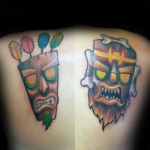 Shoulders And Back Mens Crash Bandicoot Tattoo Design Ideas
