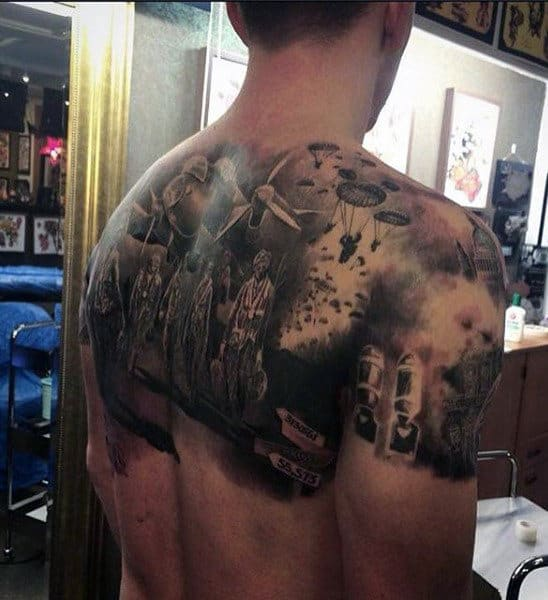 Shoulders And Back Ww2 Guys Tattoo