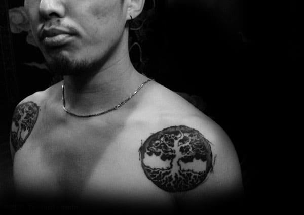 Shoulders Mens Tree Of Life Tattoos