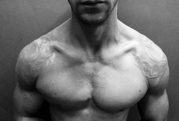 Shoulders Mens White Ink Tattoo