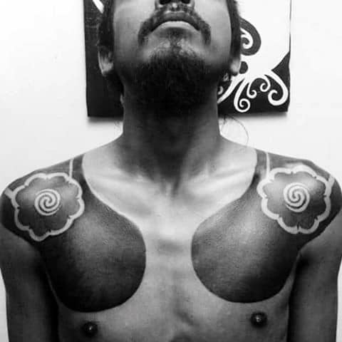 Shoulders Spiral Blackwork Abstract Male Tattoo