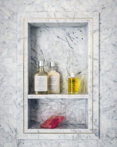 Shower Niche Design Inspiration Marble Shelf With Gold Accent Trim