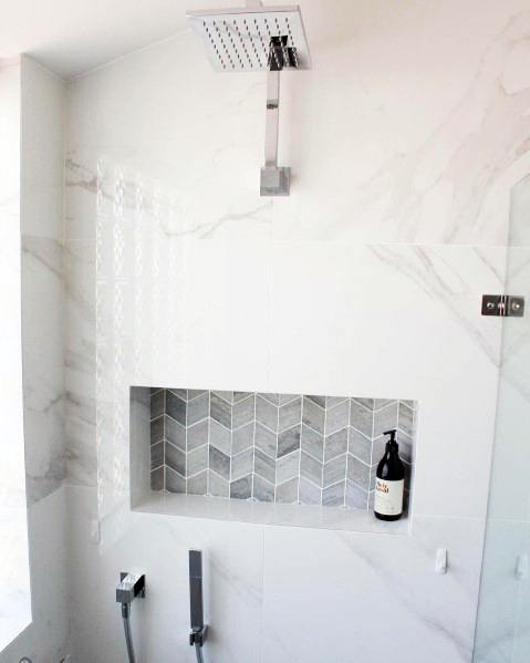 Shower Niche Grey Herringbone Pattern Tiles With Marble