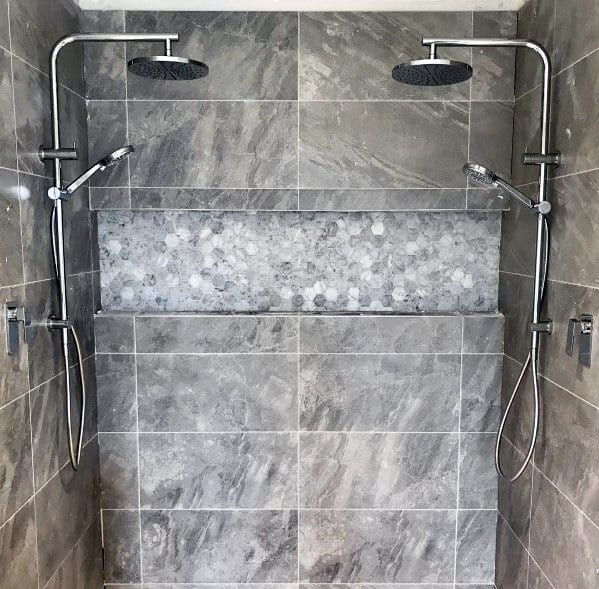 Shower Niche Interior Ideas Hexagon And Wide Format Grey Tiles