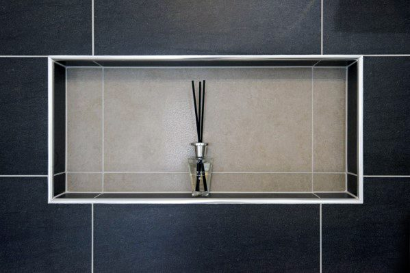 Shower Niches Black And Tan Tiles With White Trim Finish