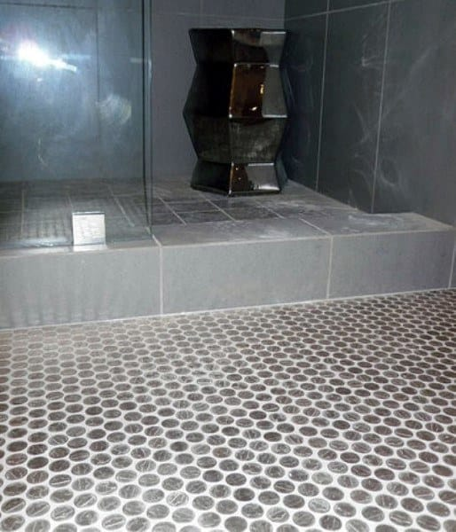 Shower Penny Floor With White Grout