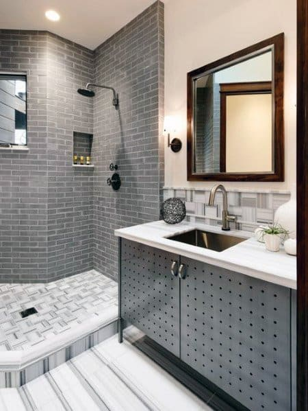 Shower Subway Grey Tile Bathroom Ideas