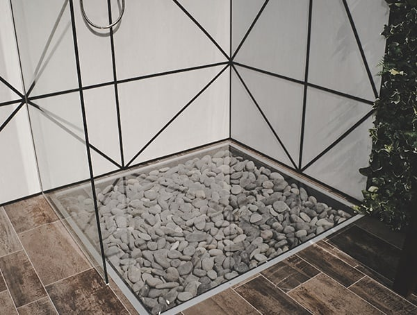 Shower With Glass Floor And Loose Stones 2019 Nahb Show