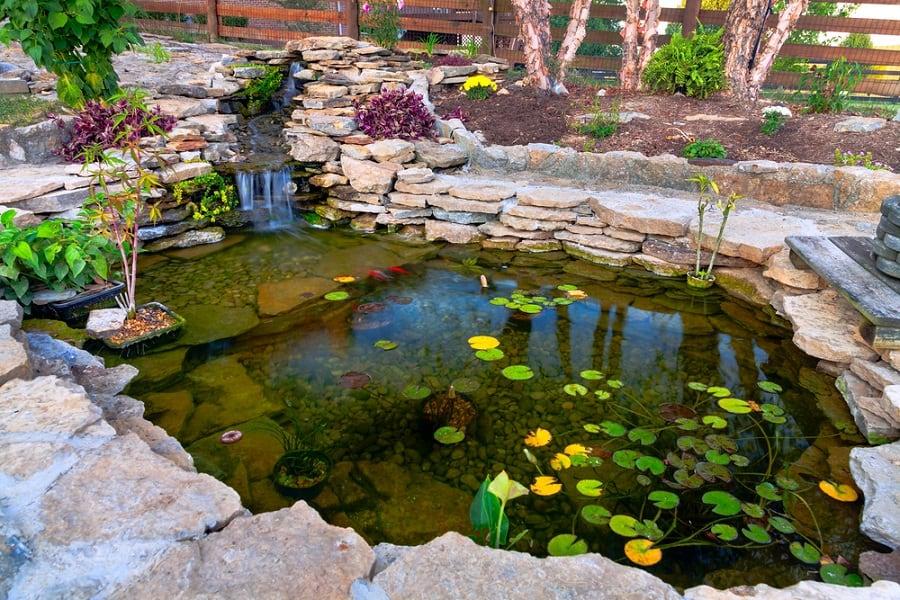 Backyard Pond Cool Rock Landscaping Design Ideas