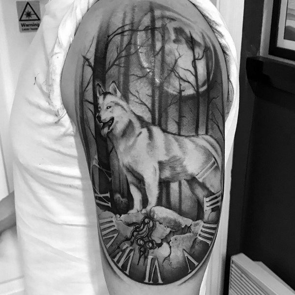 Siberian Husky Tattoo For Guys