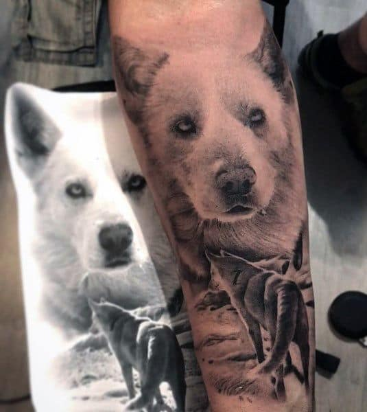 Siberian Husky Tattoo For Men