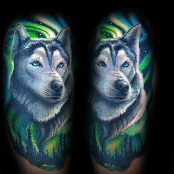 Siberian Husky Tattoo On Man