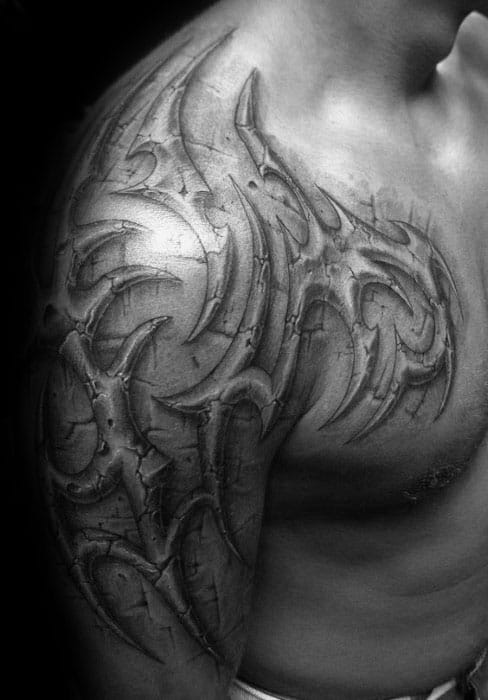 Sick 3d Mens Stone Realistic Tribal Arm And Shoulder Tattoo