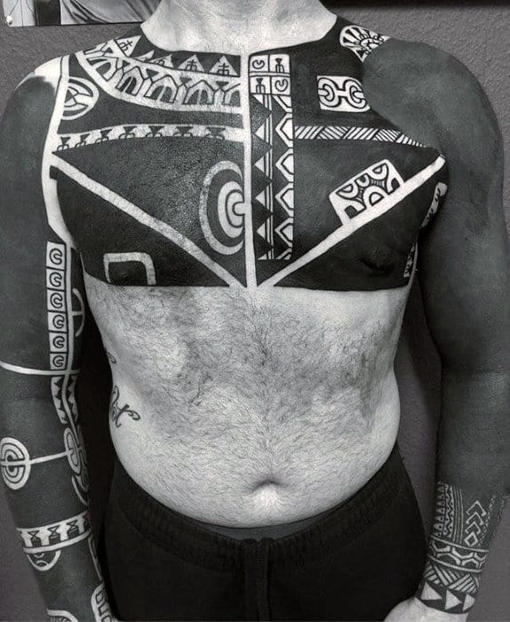 Sick Blackwork Mens Chest And Arms Tribal Tattoos