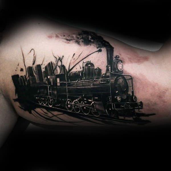 Sick Dark Engine Tattoo Male Arms