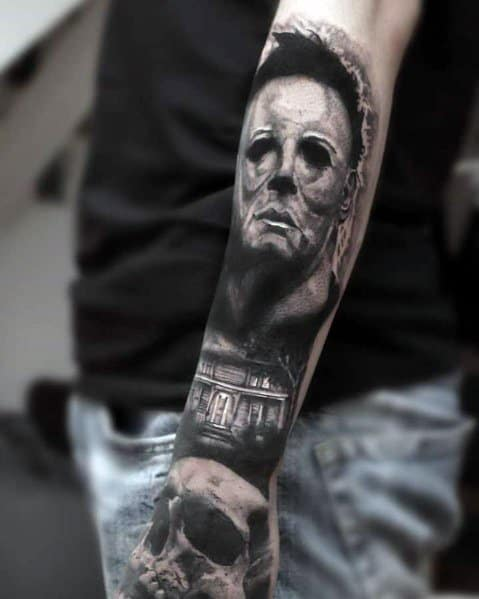 Sick Forearm Guys Michael Myers Themed Tattoos