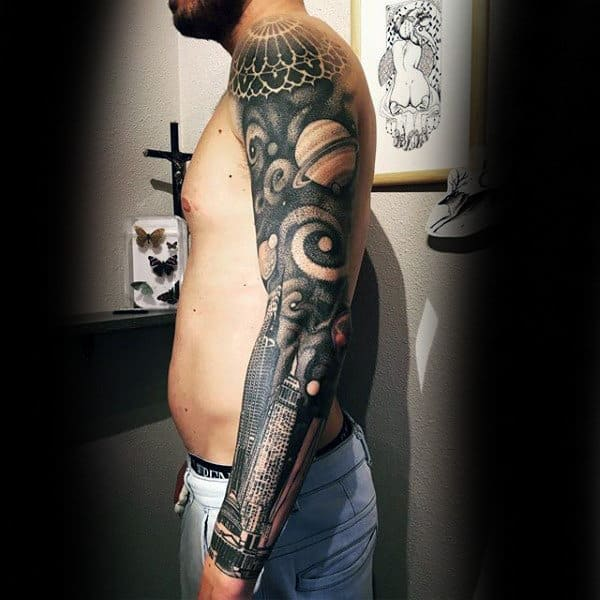 Sick Grey Planets And Buildings Tattoo Male Full Sleeves