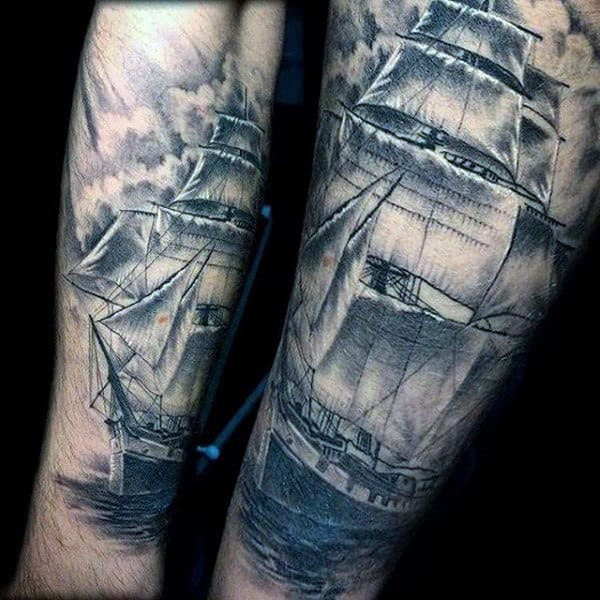 Sick Grey Ship Tattoo Male Sleeve