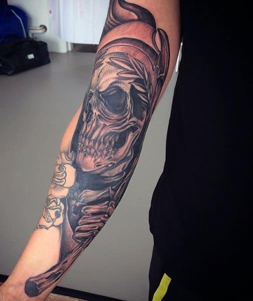Sick Grim Reaper Sleeve Tattoos For Men