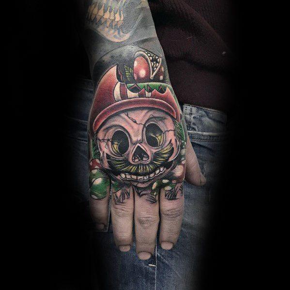 Sick Guys Mario Themed Tattoos On Hand