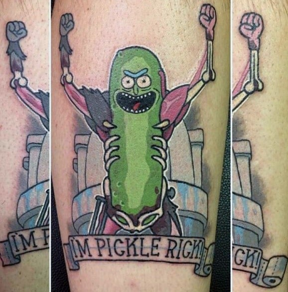 Sick Guys Pickle Rick Themed Tattoos On Arm