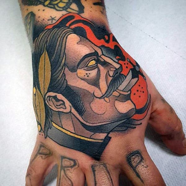 Sick Man With Cigar Tattoo Males Hands