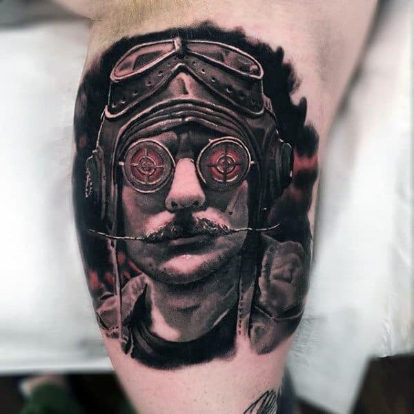 Sick Man With Sharp Edged Moustache Tattoo Male Arms