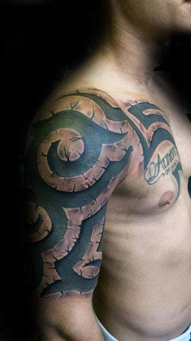 Sick Mens Manly 3d Stone Tribal Tattoo On Arm