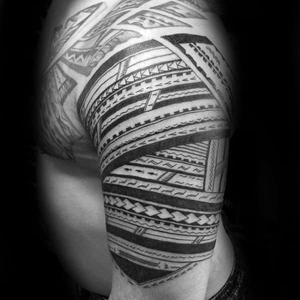 Sick Mens Samoan Half Sleeve Tattoo With Tribal Design