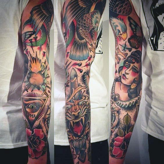 Sick Mens Traditional Sleeve Tattoo