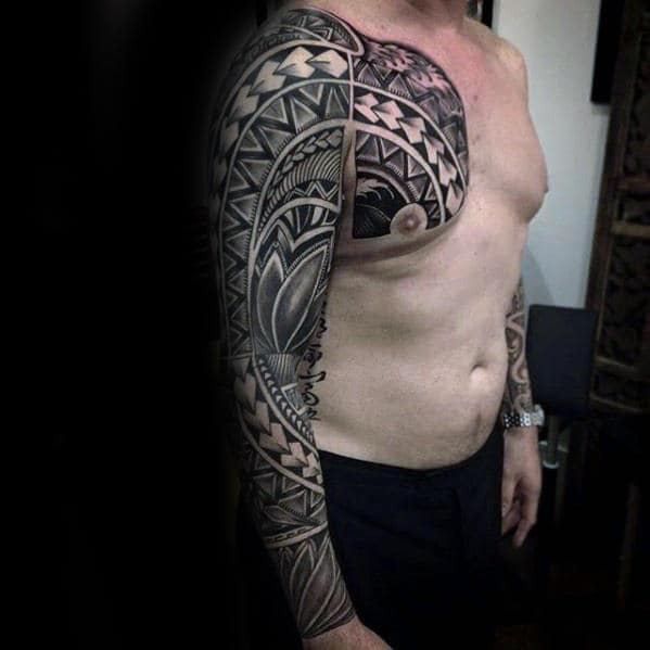 Sick Mens Upper Chest And Full Arm Sleeve Tribal Pattern Tattoos