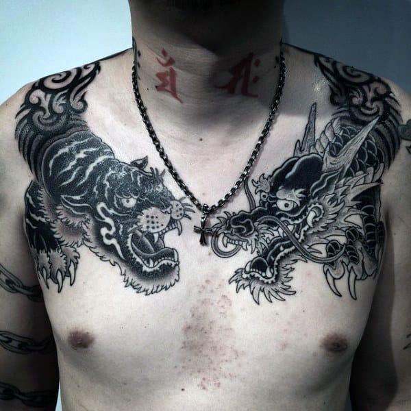 Sick Oriental Beast Tattoo Male Shoulders