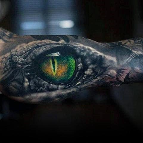 Sick Reptile Green Eye Tattoo Male Forearms