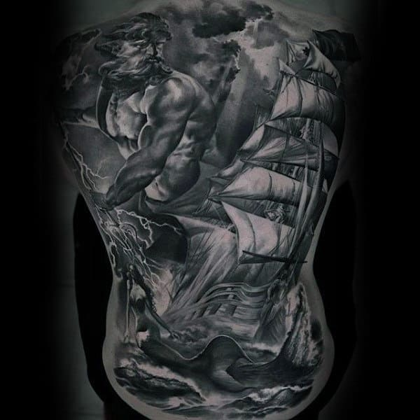 Sick Rough Seas Tattoo Mens Full Back