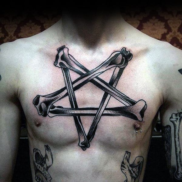 Sick Star Made Of Bone Tattoo Male Chest
