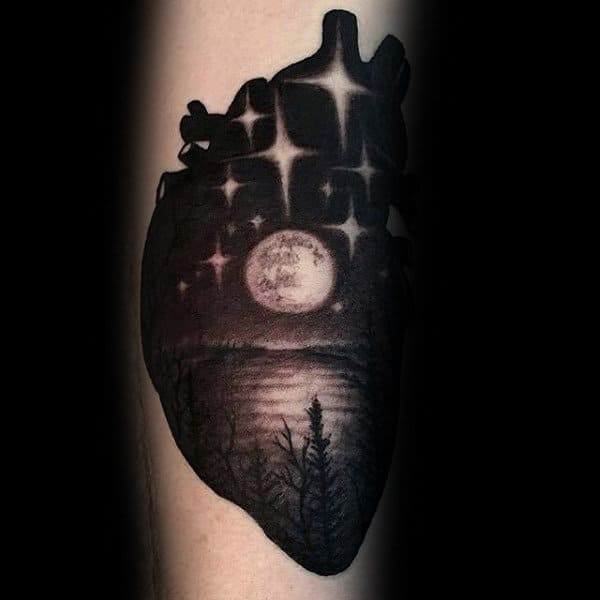 Sick Tattoo Dark Full Moon Night Mans Forearms