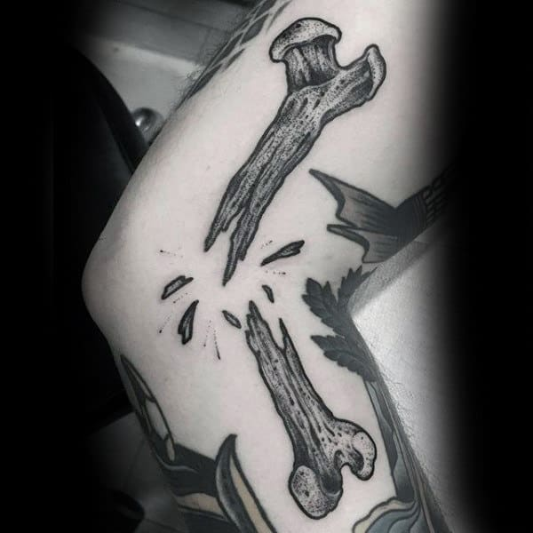 Sick Tattoo Of Broken Bones Male Legs