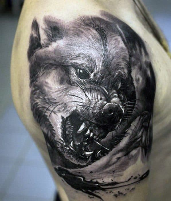 Sick Wolf 3d Quarter Sleeve Tattoo Designs For Guys