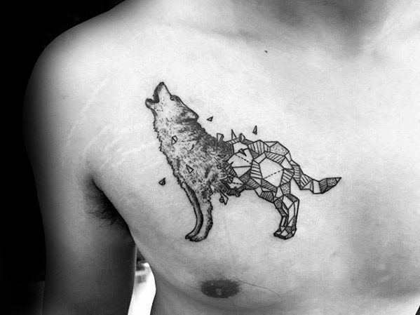 Sick Wolf Geometric Upper Chest Small Tattoo Ideas For Males