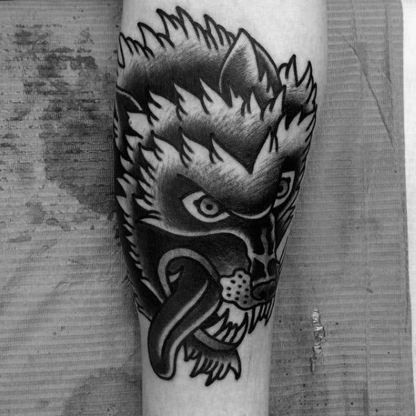 Sick Wolf Head Guys Old School Traditional Forearm Tattoo Designs