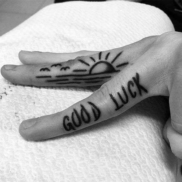 Side Of Fingers Mens Cool Good Luck Tattoo Ideas