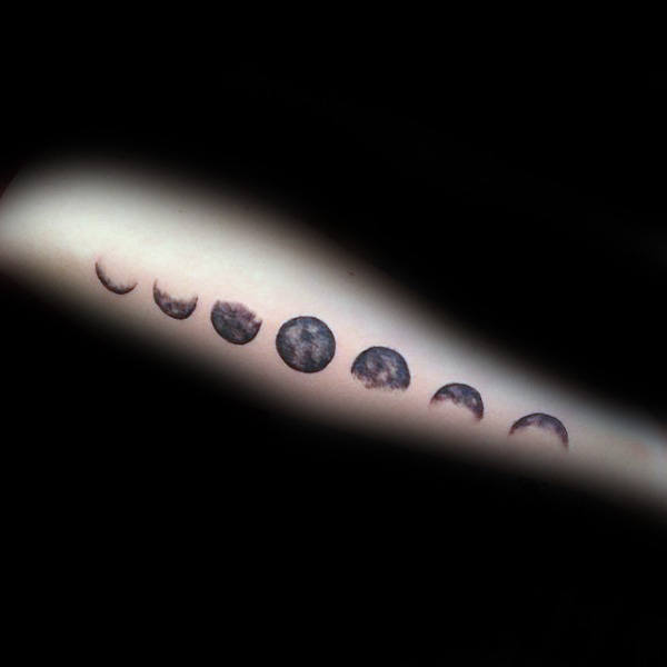Side Of Forearm Moon Phases Male Tattoo Designs