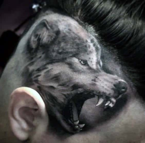 Side Of Head Angry Wolf Realistic Tattoos For Men
