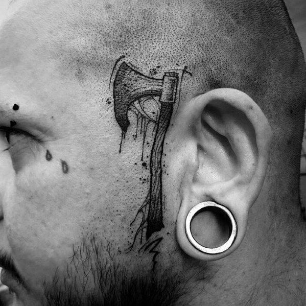 Side Of Head Tattoo Hatchet Ideas For Guys