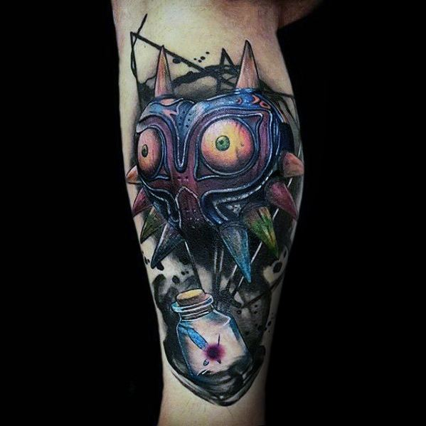 Side Of Leg 3d Guys Majoras Mask The Legend Of Zelda Tattoos