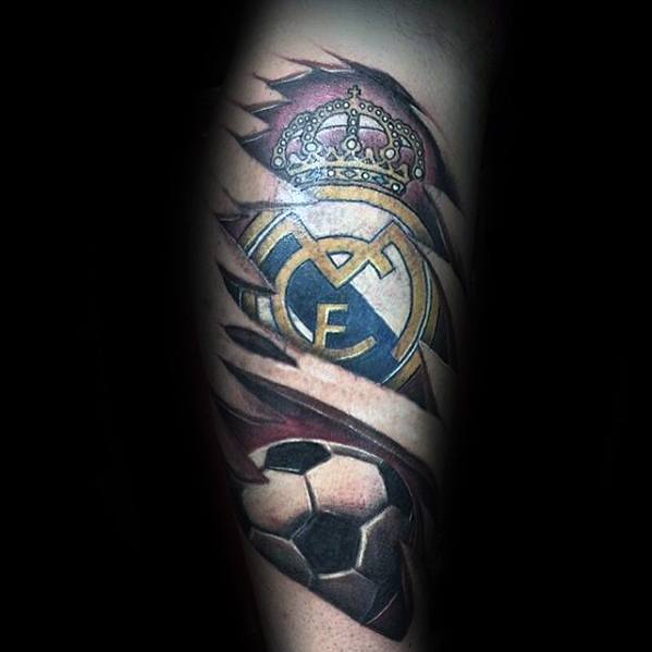Side Of Leg 3d Mens Real Madrid Tattoo Design Ideas