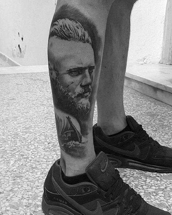 Side Of Leg 3d Ragnar Tattoo Designs For Guys